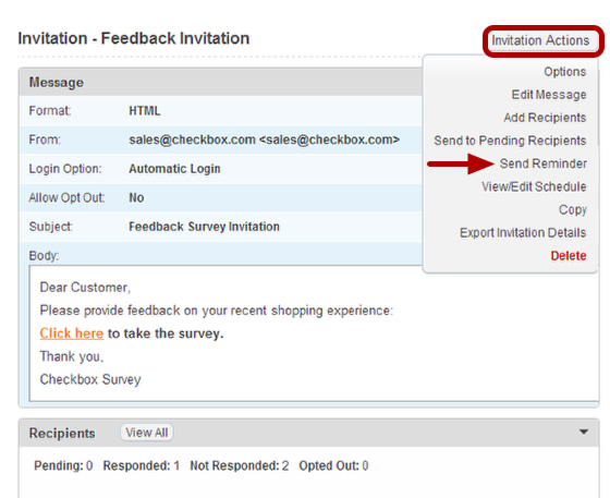 How to schedule an invitation reminder checkbox 6 to schedule a reminder invitation expand the invitation actions pull down and select send reminder stopboris Choice Image