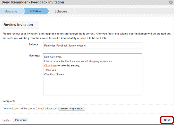 How to schedule an invitation reminder checkbox 6 select next to schedule your reminder invitation stopboris Choice Image