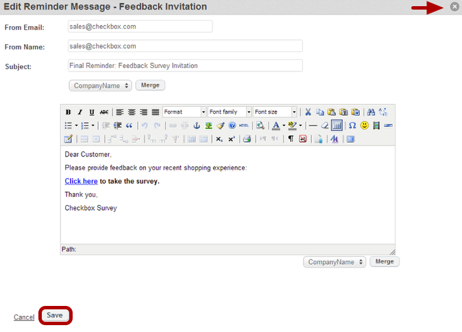 How to schedule an invitation reminder checkbox 6 once the new reminder appears on the invitation list you can select it to modify its subject and message text stopboris Choice Image