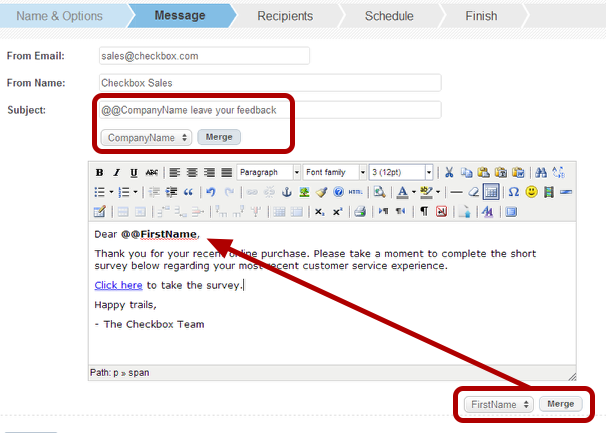 Checkbox 6 text merge guide how to merge a user attribute into an email invitation stopboris Gallery